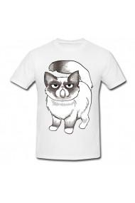Tricou Easy grumpy cat sketches alb