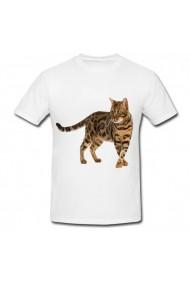 Tricou Leopard cat alb