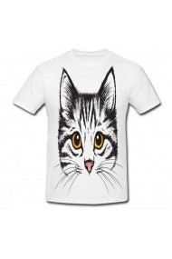 Tricou Kitten face drawing alb