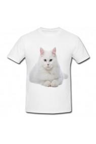 Tricou White cat blue eyes white alb
