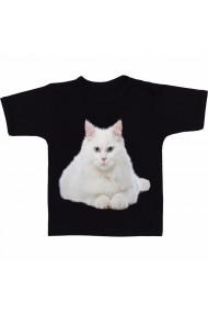 Tricou White cat blue eyes white negru