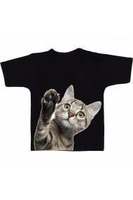 Tricou Cat waving negru