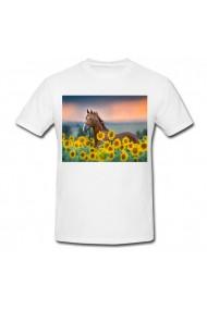 Tricou Cal in floarea soarelui alb