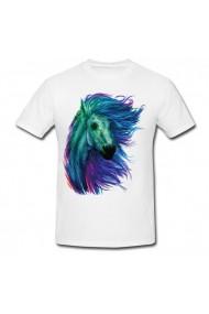 Tricou Watercolor horses alb