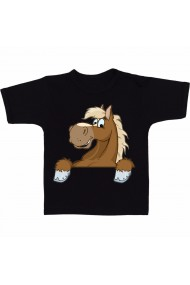 Tricou Horse face cartoon negru