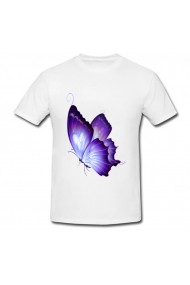 Tricou Fluture mov alb