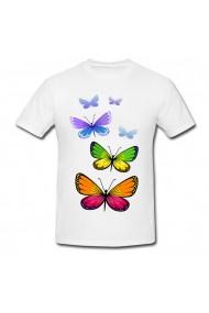 Tricou Fluturi colorati alb
