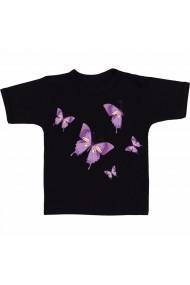 Tricou Fluturi mov negru