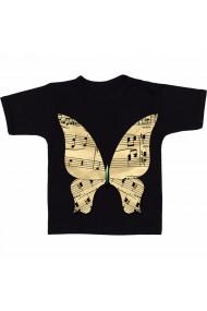 Tricou Fluture - note muzicale negru