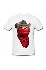Tricou Cowboy Cat alb