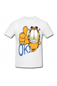 Tricou Garfield OK! alb