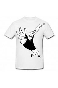 Tricou Johnny Bravo alb - negru alb