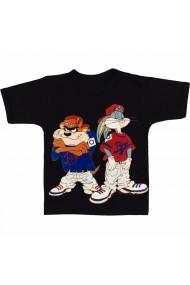 Tricou Bugs Bunny & Taz - Hip hop negru