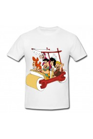 Tricou Fred Flintstone and Friends in car alb