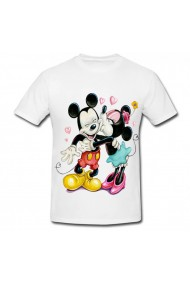 Tricou Minnie Mouse kiss Mickey Mouse - kiss alb