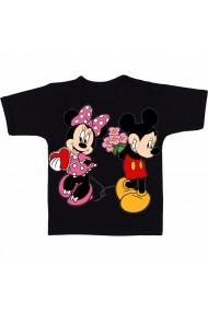 Tricou Minnie Mouse kiss Mickey Mouse - flori negru