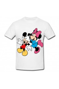Tricou Mickey Mouse and Minnie Mouse - distractie alb