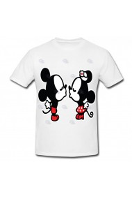 Tricou Mickey Mouse and Minnie Mouse - kiss 2 alb