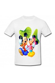 Tricou Mickey Mouse and Minnie Mouse - sub frunza alb