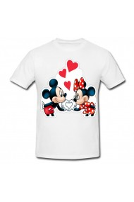 Tricou Mickey Mouse and Minnie Mouse - love alb