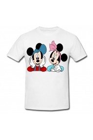 Tricou Mickey Mouse and Minnie Mouse - elevi alb