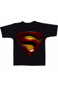 Tricou Superman logo 3D negru