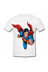 Tricou Superman action alb