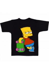 Tricou Bart Simpson on skateboard negru