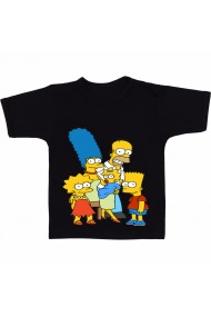 Tricou Draw the Simpsons family negru