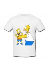 Tricou Homer Simpson strangling Bart alb