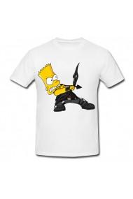 Tricou Bart Simpson, hawkeye alb