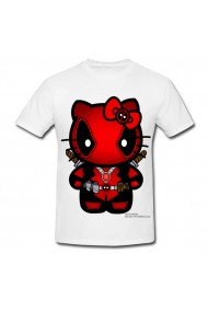 Tricou Hello Kitty deadpool decal alb