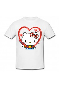 Tricou Hello Kitty heart face alb