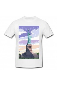 Tricou Statue of liberty National monument alb