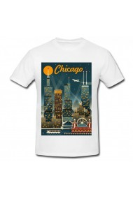 Tricou Chicago night art alb