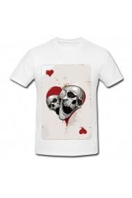Tricou Craniu - inima rosie alb