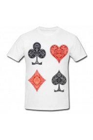 Tricou Colors playing cards alb