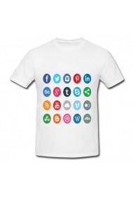 Tricou Butoane social media alb