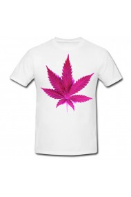 Tricou Marijuana mauve alb