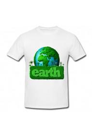 Tricou Earth green alb