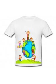 Tricou Explore the world kids alb