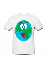 Tricou Happy earth cartoon alb