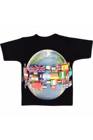 Tricou Globe with flags negru