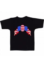 Tricou American flag banner negru