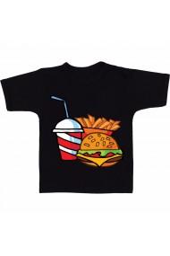 Tricou Cartoon hamburger and fries negru