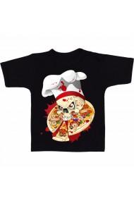 Tricou Craniu & pizza negru