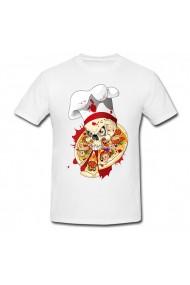 Tricou Craniu & pizza alb