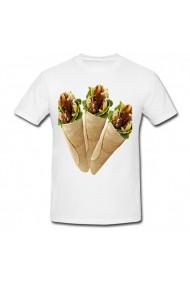Tricou 3 x shawarma alb