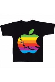 Tricou Logo Apple rainbow color negru