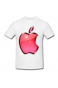 Tricou Apple logo red alb